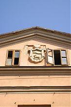 Герб Бережан на фронтоні магістрату
