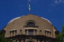 Аттик центрального фасада бывшего здания Земской управы Александровска (Запорожья)