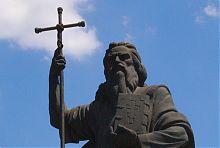 Лицо скульптуры апостола Андрея в Запорожье