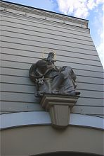 Святой Лука на фасаде Дворца искусств во Львове