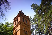 Поляна с водонапорной башней Харитоновской усадьбы