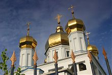 Купола Успенского храма в Солоницевке