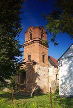 Башня-колокольня над нартексом костела в Голобах