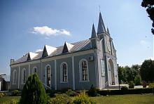 """Північний фасад молельного будинку євангелістів християн баптистів """"Вифлеєм"""" в Дунаївцях"""