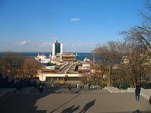 Потемкинская лестница в Одессе (вид сверху)