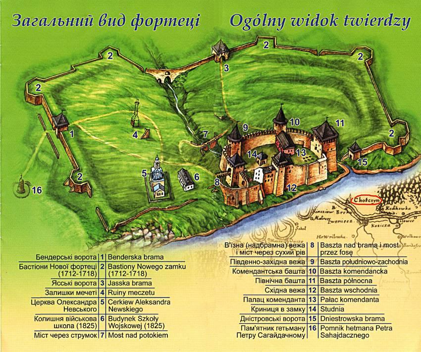 План-схема Хотинской крепости